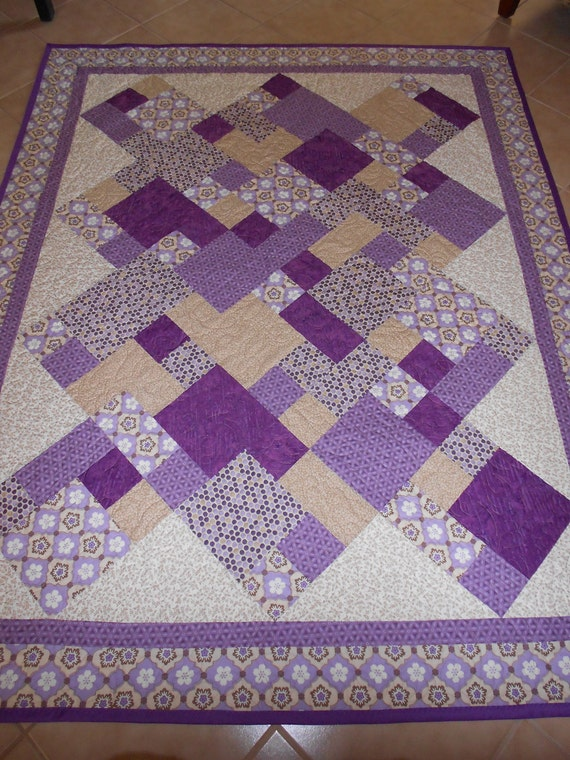 Reverseable Lavendars and Browns Beautiful Quilt