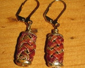 Red and Gold Woven Metal Dangle Earring