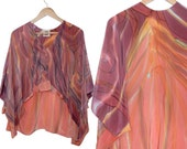 Fashion Silk Blouse-  Root Flutter Blouse- Orange & Red Wine -  Hand Painted Silk - Extra Small / Large ( one size fits most)