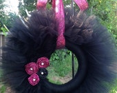 Medium Black and Hot Pink Feather Glitter Rosette Tulle Wreath