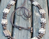 Brown Wood Beads Necklace with Leather Cord and Leather Oblongs