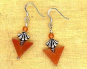 Orange Dream Statement Earrings of Aventurine and Silver