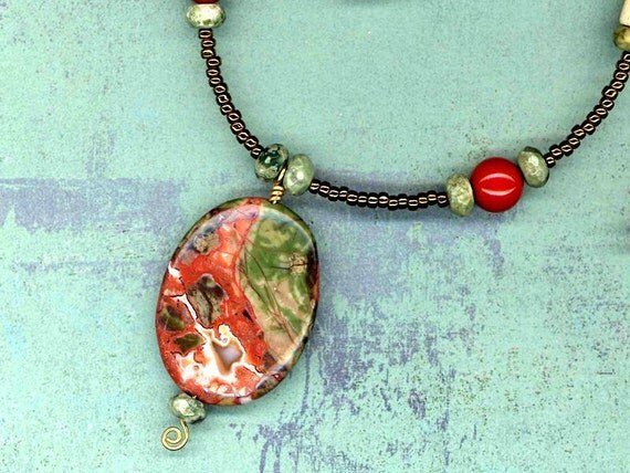 Forest Sprites Abode Necklace of Rainforest Jasper,  Red Jasper, Bone and Glass Seed Beads