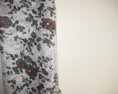 Lightweight Scarf / Hijab - White with Brown Flowers and Leaves