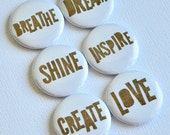 Simply Kraft Words  - set of six badges/ flair buttons