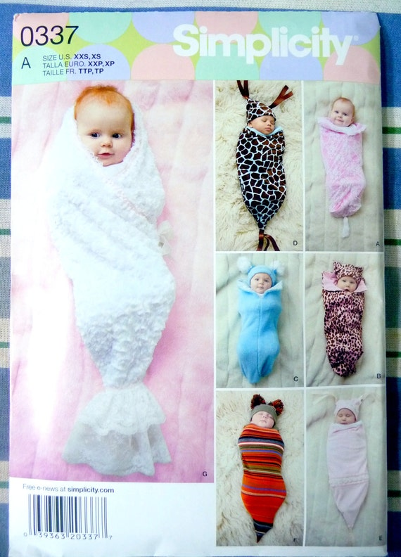 NEW Simplicity Pattern 0337 Newborn, Infant, Baby Costumes, Swaddling Sacks and Hats (Preemie-3 month)