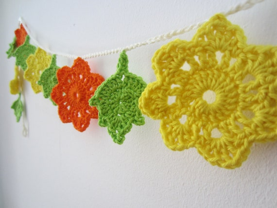 Happy Spring Flowers and Leaves Crochet Garland/Bunting - Yellow, Orange and Green