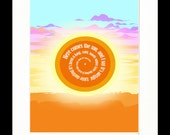 Here Comes The Sun Spiral Song Lyric Print  - The Beatles - Typography - 11x14