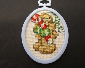 Bear with Candy Cane Christmas Tree Ornament