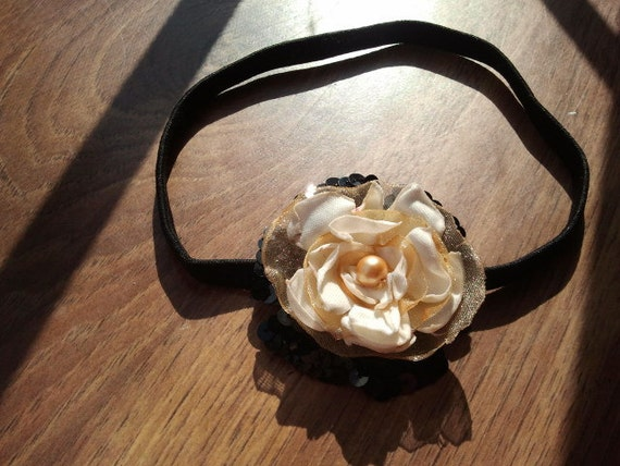 White Gold Flower Headband