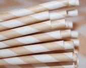25 Ivory Creme  Striped Paper Straws, Party Straws, Soda Straws, Birthday, Tea Party, Wedding