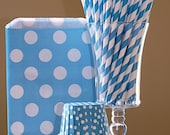 Instant PaRtY...   24- Sea Blue Paper Straws, 24 Blue Polka Dot Favor Bags & 24 Blue Polka Dot Candy/ Nut Cups