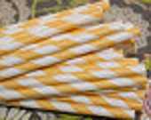 200 YELLOW STRIPE Paper Straws with Blank Paper Flags - Wedding -Birthday - Baby Shower - Made In USA