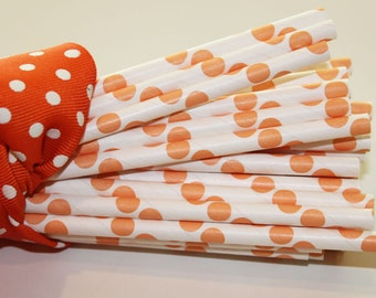 25 Orange Dot Paper Straws, Party, Carnival, Birthday, Polka Dots, Wedding,