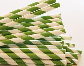 25 Kelly Green Paper Straws