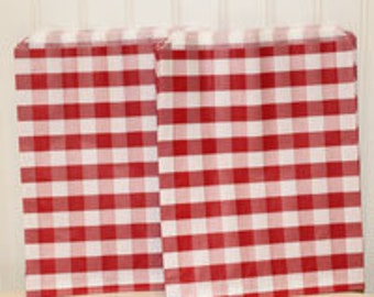 24 Red Gingham Check Party Favor Bags, Candy Buffet, Wedding, Baby Shower. Treat Bags