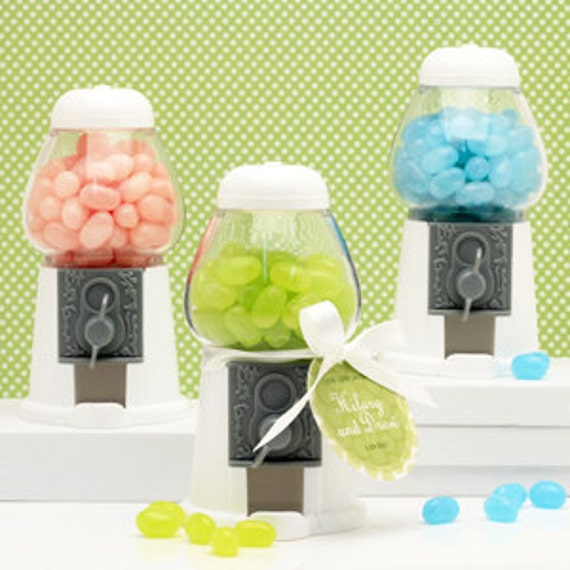 3 Empty White Gumball Machines      Personalize Yours with Choice of Colored LABEL and tie a Lolas Pretty Twine that come to match