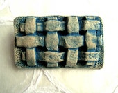 RESERVED for Cathy jewelry brooch 'ancient' blue woven