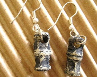 jewelry earrings textural black 'bones'  made with paper clay