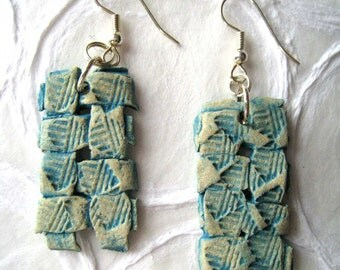 jewelry earrings woven paper clay in turquoise blue