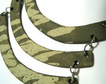 jewelry necklace olive green breastplate in paper clay