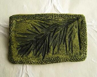jewelry brooch dark green rosemary in paper clay