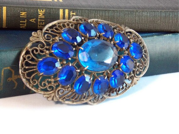 Large Blue Jeweled Costume Hair Accessory or Brooch