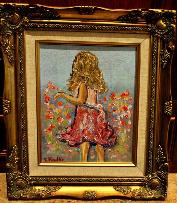 Girl Child in the Poppies Monet Style Impressionist Original Oil Painting and Gold Frame 8 by10 Sarah Kadlic Fine Art