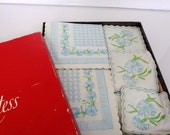 Old Vintage blue and green floral - flower-  table napkins ( Stationery) from John Dickinson Products