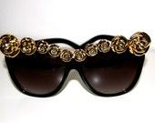 Cusomised LuckyEi8ht Cat Eye Gold Rose Flower Rim Sunglasses (NOT FOR SALE)