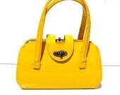 Cute Little Mini Vintage Yellow Patent Kelly Purse - 60s Mod, 70's Disco, 80's New Wave Bag Handbag
