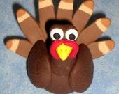 A Brown and Tan Polyclay Turkey Figurine