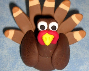 A Brown and Tan Polyclay Turkey Figurine