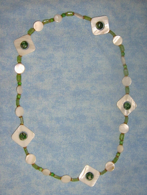 White And Green MOP Glass And Shell Inlay Bead Necklace