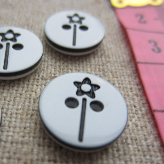 10 White and Black Buttons with Laser-cut Daisy Wand Design 13mm