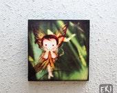 Canvas Wood Block Art - little fairy in the garden