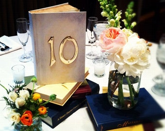 Antiqued/Aged Table Number Books