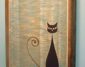 Mid Century Modern Style Cat Print