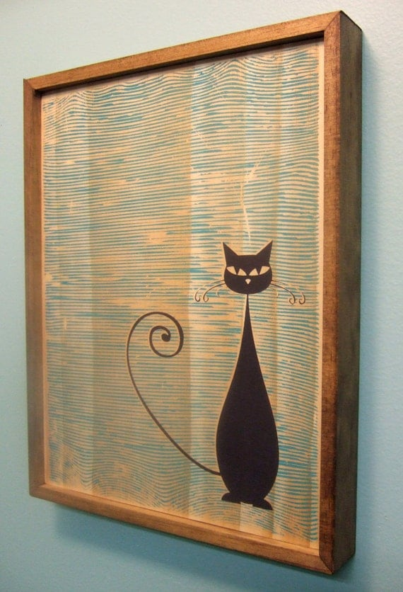 mid century modern style cat print. Black Bedroom Furniture Sets. Home Design Ideas