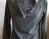 raglan blouse with collar, made in danmark, danish design, grey stripe