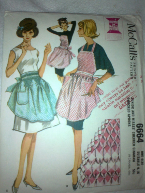 Vintage Pattern 1962, McCalls 6664 Junior and Misses' Checked Gingham Smocked Aprons
