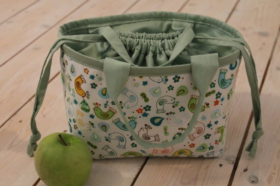 Handmade drawstring lunch bag/tote