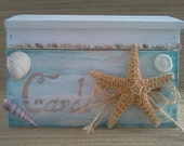 SALE: Rustic, distressed beach wedding card box treasure chest