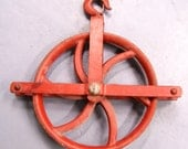Farm salvage iron pulley - red - weighs over 20 pounds - industrial