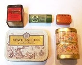 Instant collection of 5 vintage miniature tins