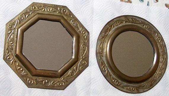 "Pair of tin mirrors - 8"" in diameter - round & octagon"
