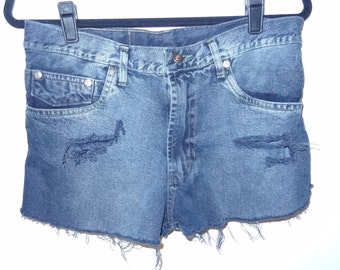 Vintage Diesel High Waisted Distressed Denim Cut offs