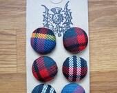 100% wool tartan fabric covered buttons (Modern MacBeth)