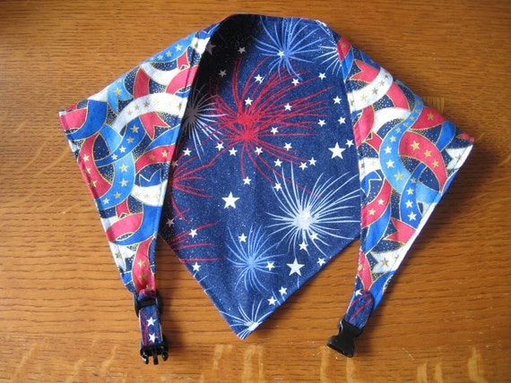 Reversible, adjustable, washable dog bandana - Large