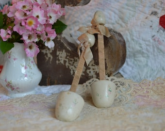 Vintage French Shoe Stays with Hand Painted Pink Flowers and Silk Ribbons